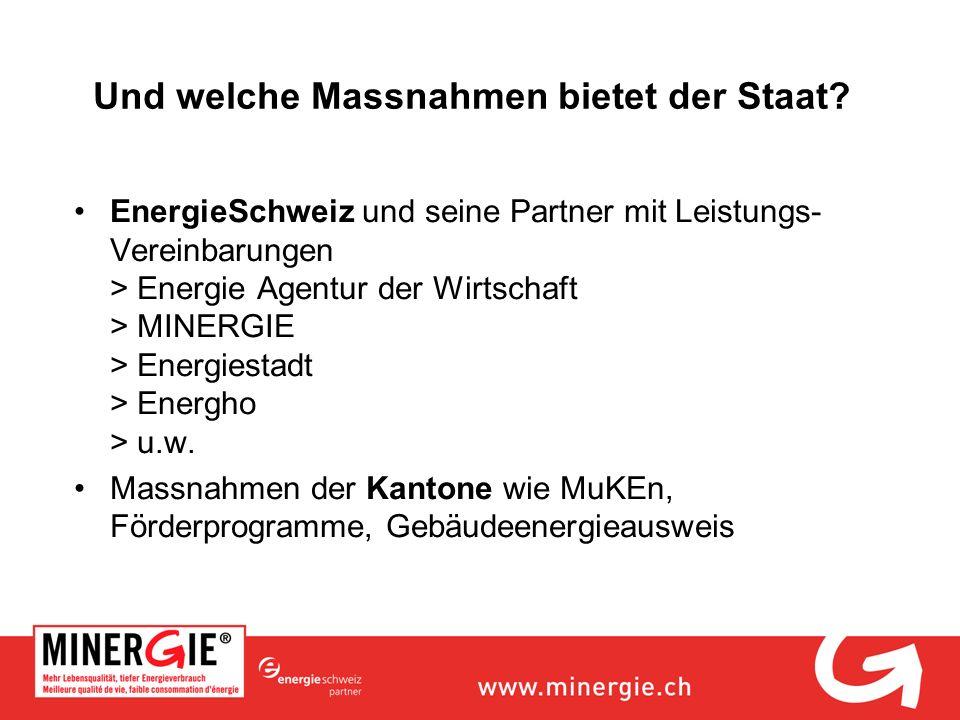 Und welche Massnahmen bietet der Staat? EnergieSchweiz und seine Partner mit Leistungs- Vereinbarungen > Energie Agentur der Wirtschaft > MINERGIE > E