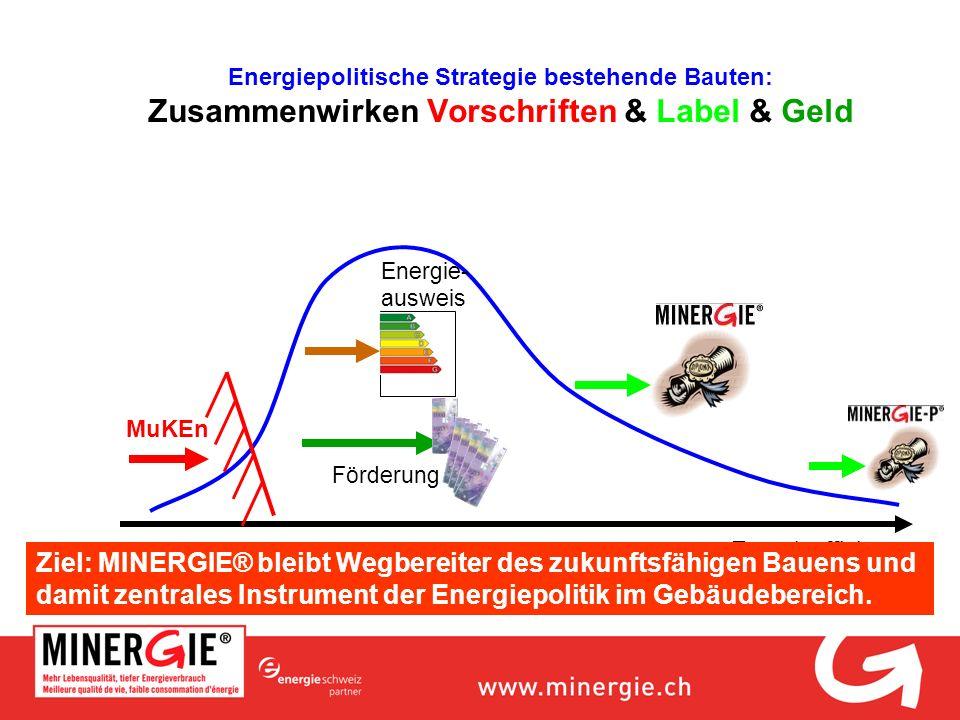 Energiepolitische Strategie bestehende Bauten: Zusammenwirken Vorschriften & Label & Geld Energieeffizienz MuKEn Energie- ausweis Förderung Ziel: MINE