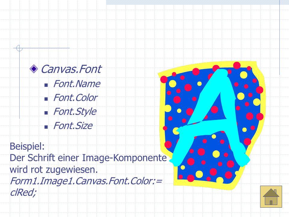Canvas.Font Font.Name Font.Color Font.Style Font.Size Beispiel: Der Schrift einer Image-Komponente wird rot zugewiesen. Form1.Image1.Canvas.Font.Color