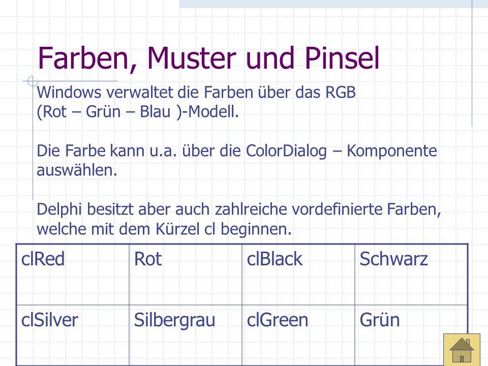 Farben, Muster und Pinsel Windows verwaltet die Farben über das RGB (Rot – Grün – Blau )-Modell. Die Farbe kann u.a. über die ColorDialog – Komponente