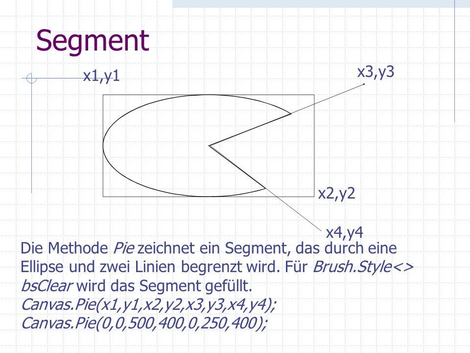 Segment x1,y1 x2,y2 x3,y3 x4,y4 Die Methode Pie zeichnet ein Segment, das durch eine Ellipse und zwei Linien begrenzt wird. Für Brush.Style<> bsClear