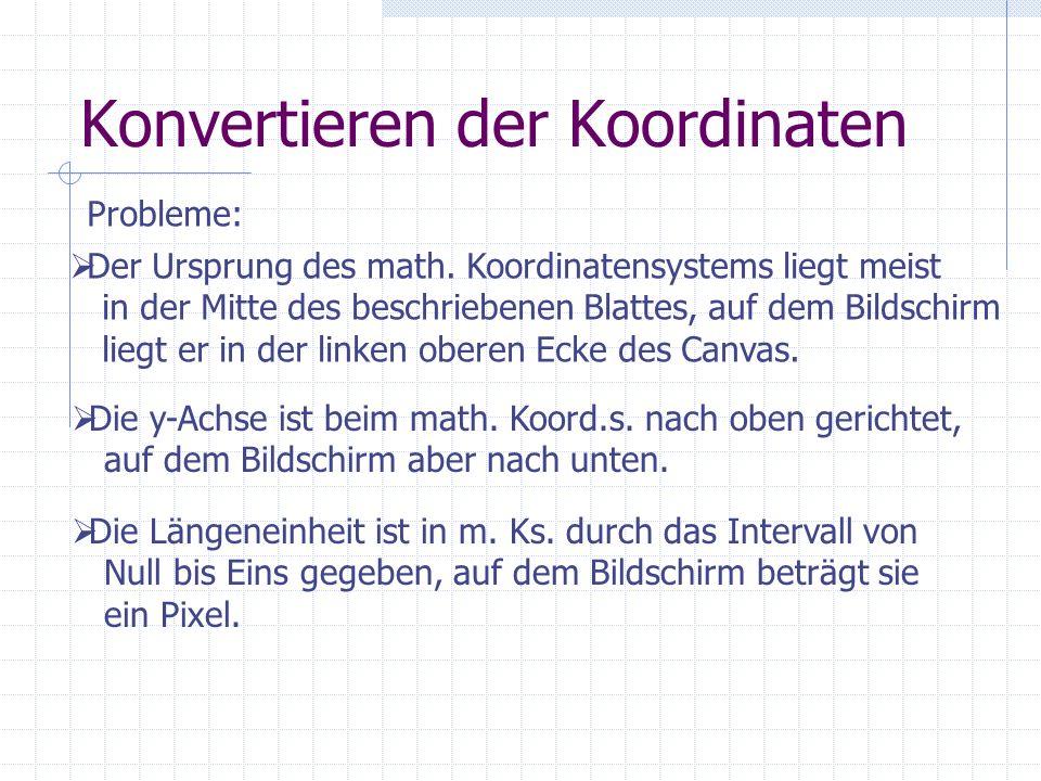 Konvertieren der Koordinaten Probleme: Der Ursprung des math. Koordinatensystems liegt meist in der Mitte des beschriebenen Blattes, auf dem Bildschir