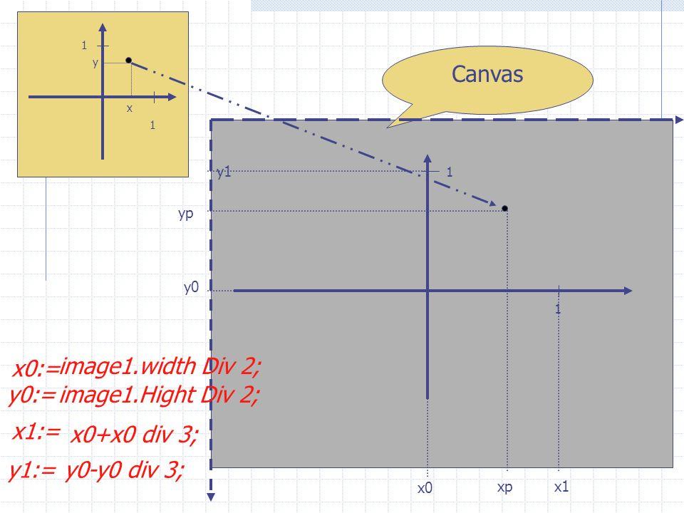 1 1 x y Canvas 1 1 y1 yp y0 x0 xpx1 x0:= x1:= y0:= image1.width Div 2; image1.Hight Div 2; y1:= x0+x0 div 3; y0-y0 div 3;