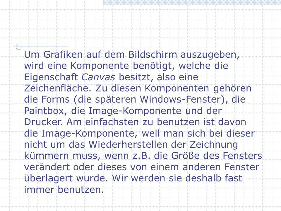 Um Grafiken auf dem Bildschirm auszugeben, wird eine Komponente benötigt, welche die Eigenschaft Canvas besitzt, also eine Zeichenfläche. Zu diesen Ko