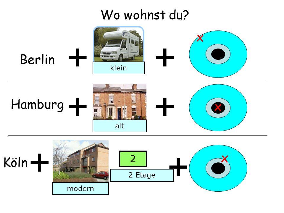 Wo wohnst du? + Berlin + x Hamburg ++ x Köln + + x klein alt modern 2 2 Etage