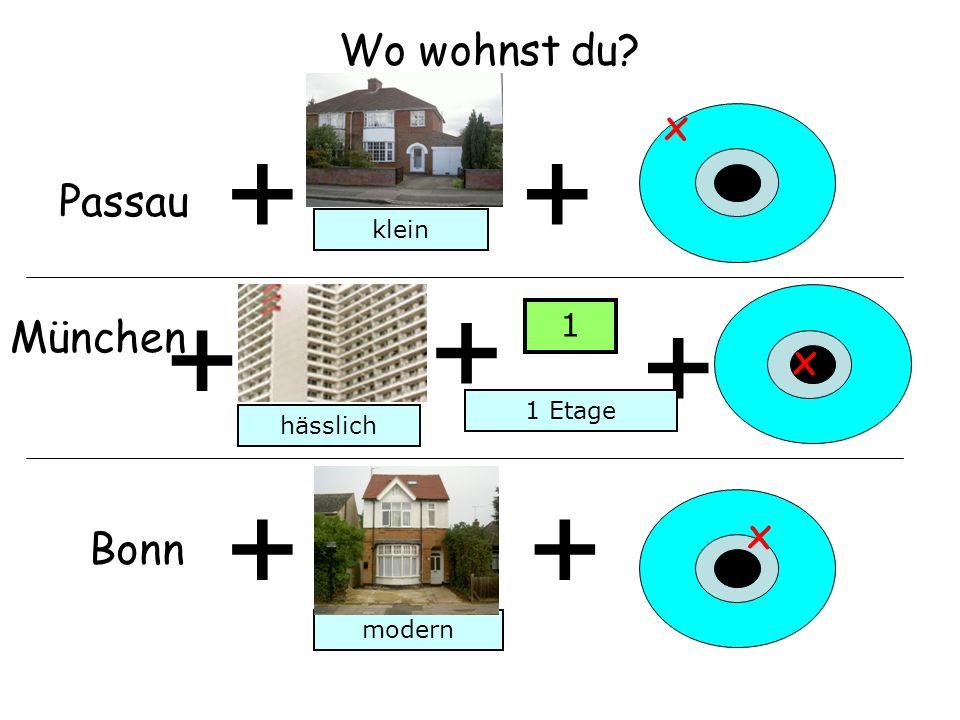 Wo wohnst du? + Passau + x München + + x Bonn ++ x klein hässlich modern + 1 Etage 1