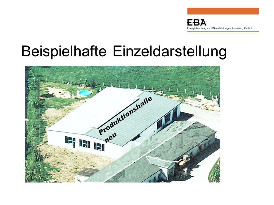 1.1 Poduktionshalle neu (16) Grundgrößen für die Bewertung nach Energieeinsparverordnung: Die Produktionshalle wurde im Jahr 1998 errichtet.