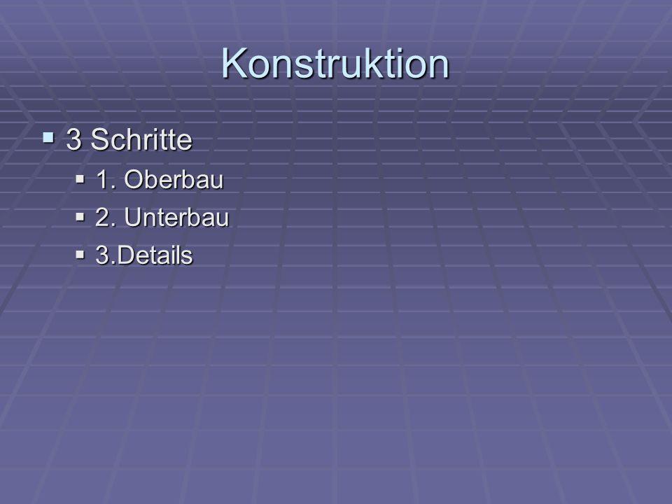Konstruktion 3 Schritte 3 Schritte 1. Oberbau 1. Oberbau 2. Unterbau 2. Unterbau 3.Details 3.Details
