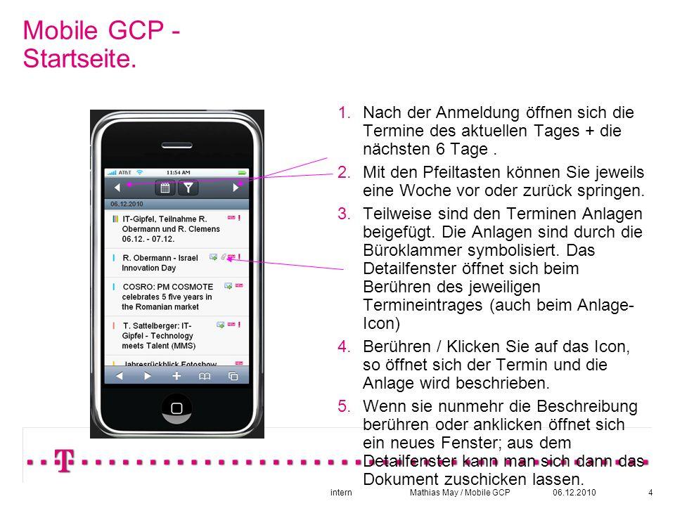06.12.2010intern Mathias May / Mobile GCP4 Mobile GCP - Startseite.