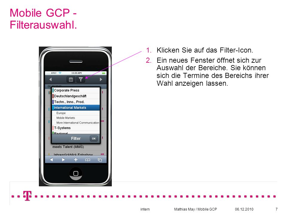 06.12.2010intern Mathias May / Mobile GCP7 Mobile GCP - Filterauswahl.