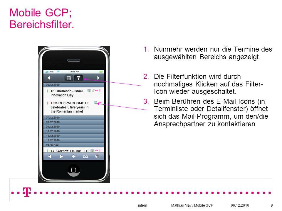 06.12.2010intern Mathias May / Mobile GCP8 Mobile GCP; Bereichsfilter.