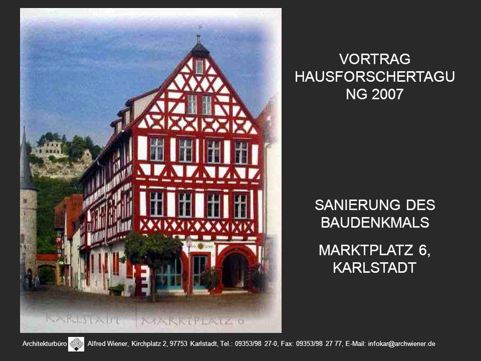 Architekturbüro Alfred Wiener, Kirchplatz 2, 97753 Karlstadt, Tel.: 09353/98 27-0, Fax: 09353/98 27 77, E-Mail: infokar@archwiener.de VORTRAG HAUSFORS