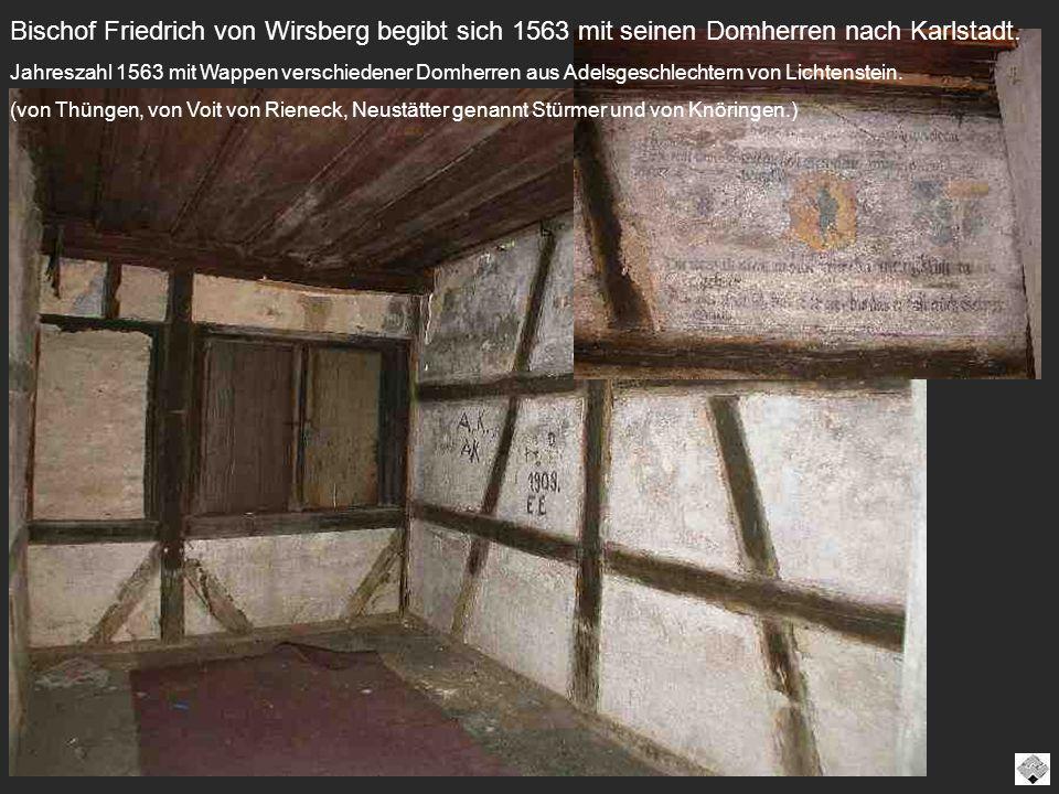 Bischof Friedrich von Wirsberg begibt sich 1563 mit seinen Domherren nach Karlstadt. Jahreszahl 1563 mit Wappen verschiedener Domherren aus Adelsgesch