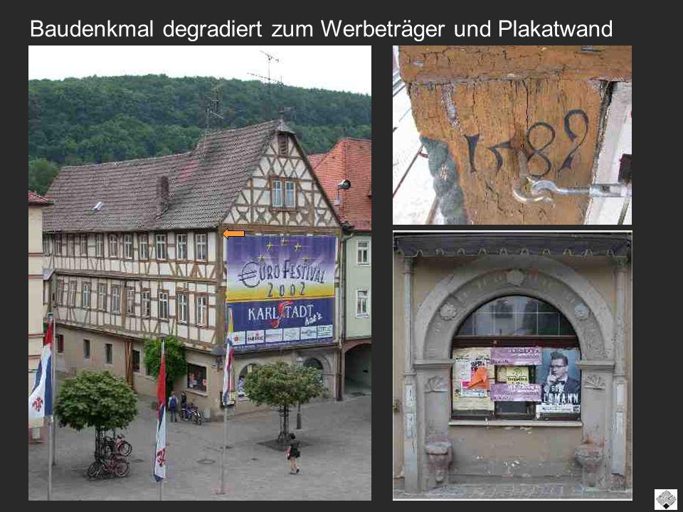 Baudenkmal degradiert zum Werbeträger und Plakatwand