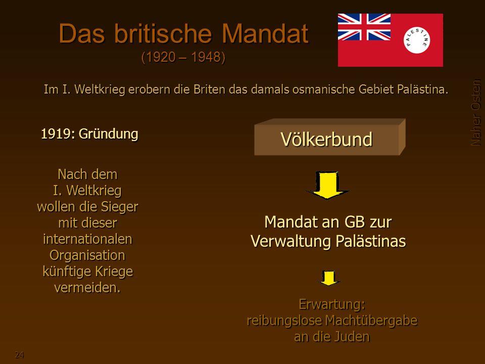 Naher Osten 24 Das britische Mandat (1920 – 1948) 1919: Gründung Im I.