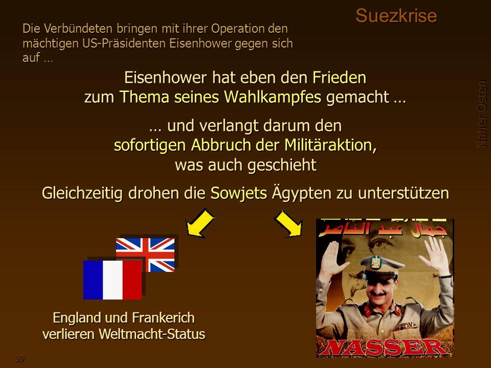 Naher Osten 39SuezkriseEisenhower hat eben den Frieden zum Thema seines Wahlkampfes gemacht … … und verlangt darum den sofortigen Abbruch der Militäraktion, was auch geschieht Gleichzeitig drohen die Sowjets Ägypten zu unterstützen Die Verbündeten bringen mit ihrer Operation den mächtigen US-Präsidenten Eisenhower gegen sich auf … England und Frankerich verlieren Weltmacht-Status Nasser ist der Held die Bedrohung Israels nimmt zu