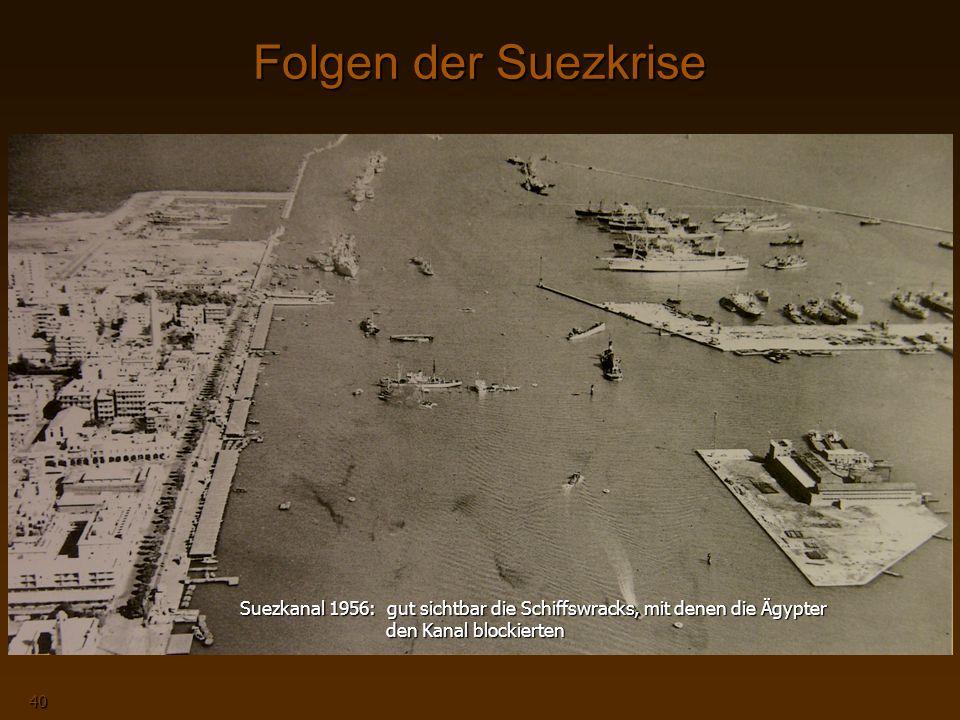 Naher Osten 40 Folgen der Suezkrise Stationierung von UN-Truppen entlang der ägyptisch- israelischen Grenze Die Niederlage beschleunigt die Entwicklung, mit der in den nächsten Jahren auch die restlichen britischen und französischen Kolonien ihre Unabhängigkeit anstreben Suez-Kanal noch bis zum 10.