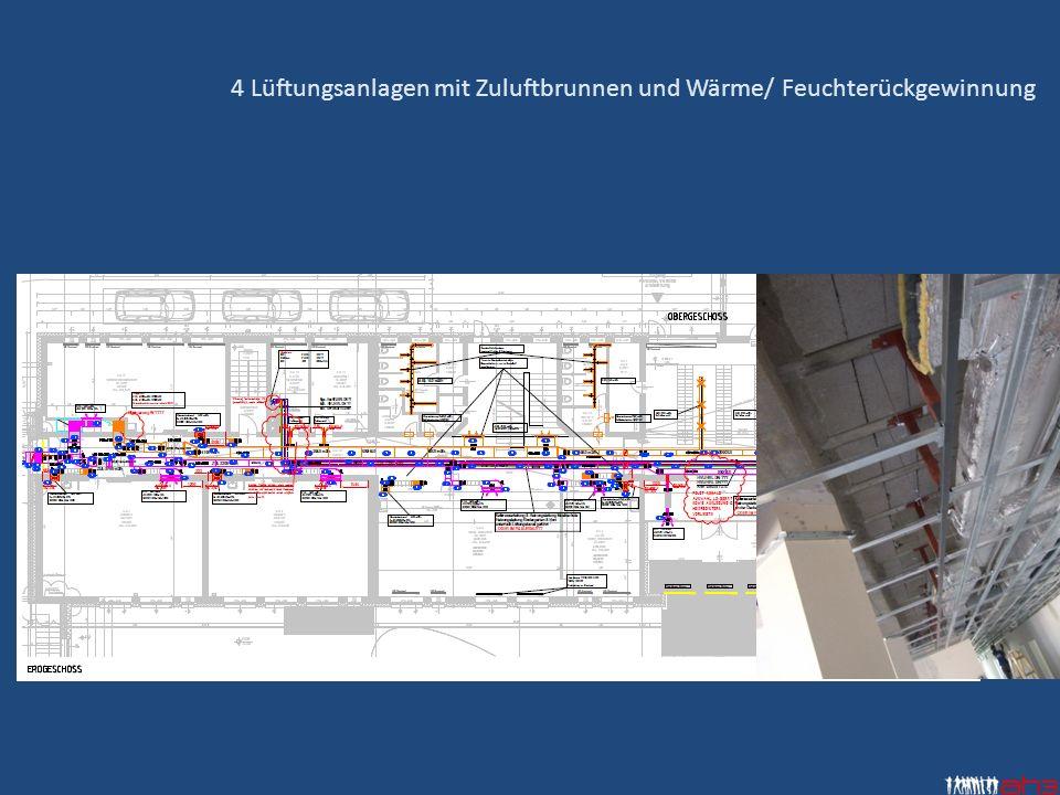 4 Lüftungsanlagen mit Zuluftbrunnen und Wärme/ Feuchterückgewinnung