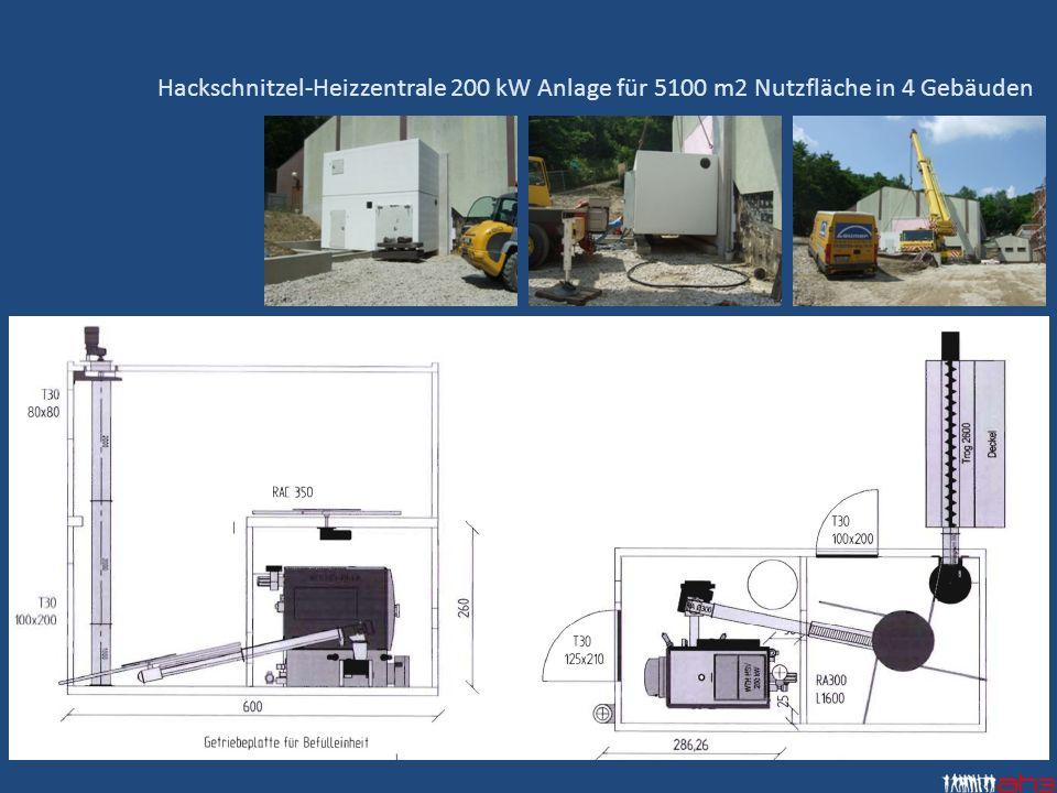 Hackschnitzel-Heizzentrale 200 kW Anlage für 5100 m2 Nutzfläche in 4 Gebäuden