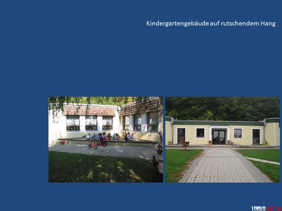Kindergartengebäude auf rutschendem Hang