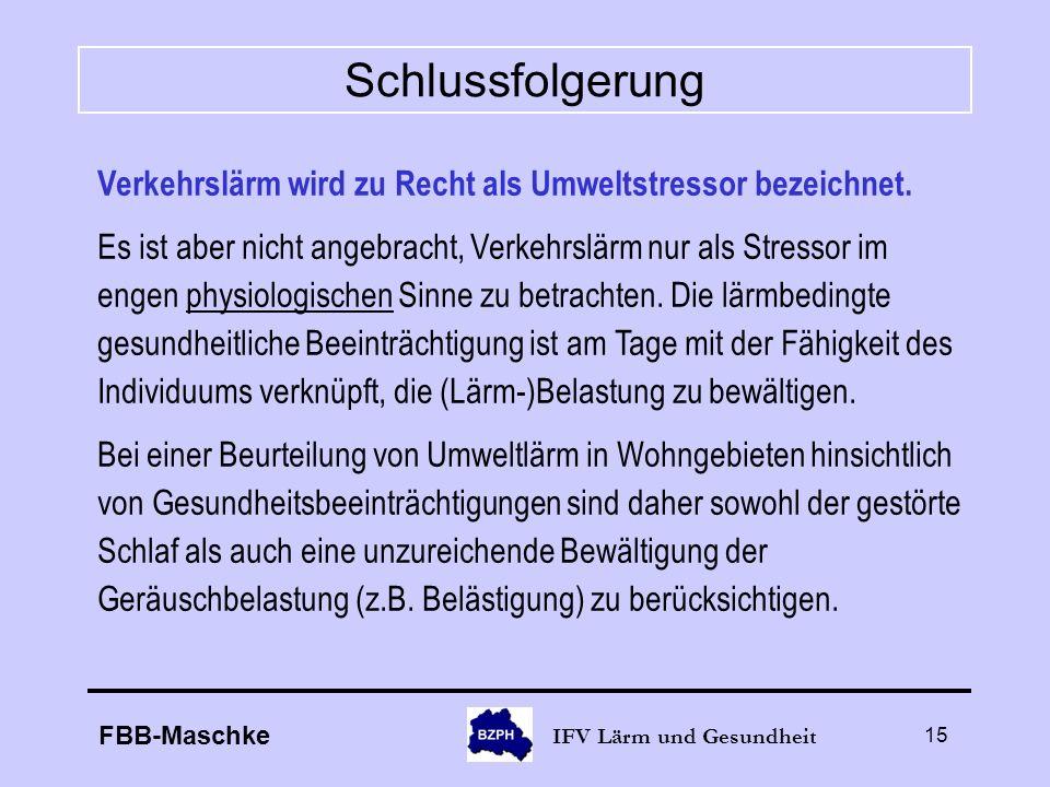 FBB-Maschke IFV Lärm und Gesundheit 15 Schlussfolgerung Verkehrslärm wird zu Recht als Umweltstressor bezeichnet. Es ist aber nicht angebracht, Verkeh