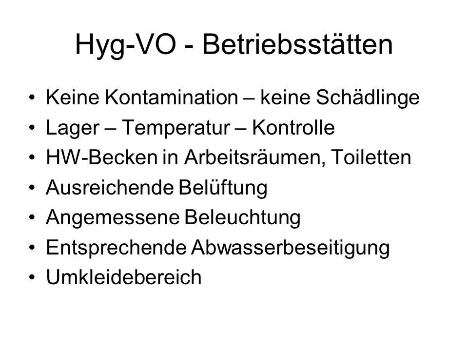 Hyg-VO - Betriebsstätten Keine Kontamination – keine Schädlinge Lager – Temperatur – Kontrolle HW-Becken in Arbeitsräumen, Toiletten Ausreichende Belü
