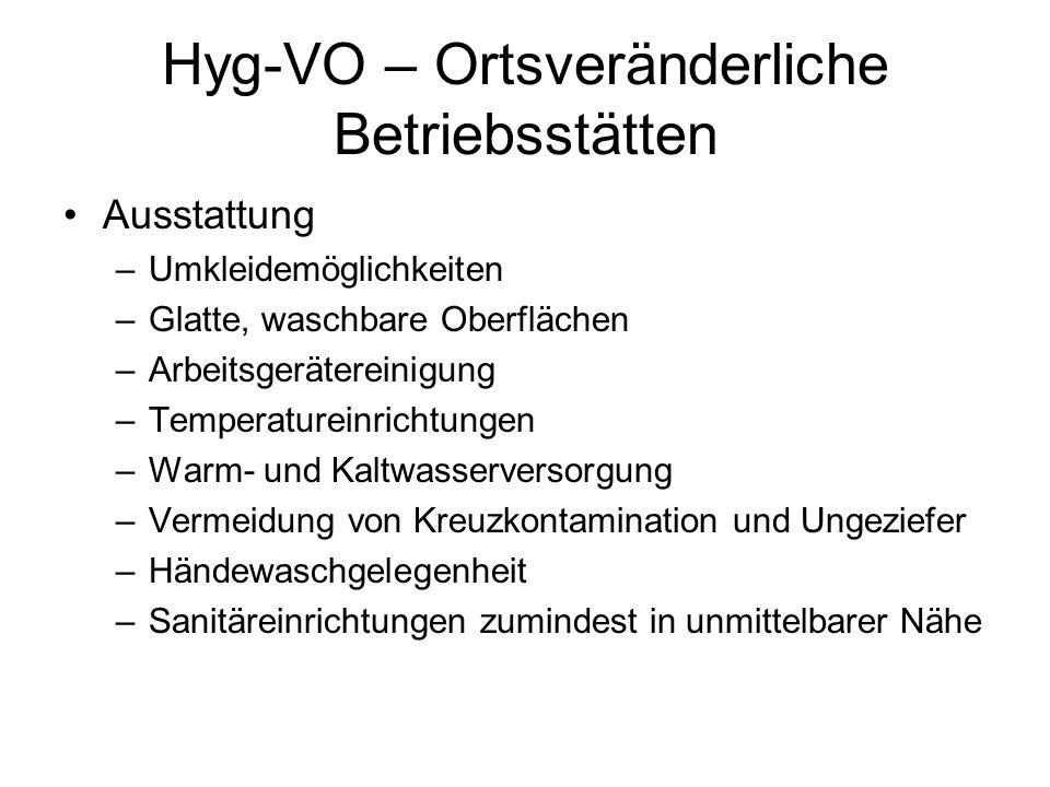 Hyg-VO – Ortsveränderliche Betriebsstätten Ausstattung –Umkleidemöglichkeiten –Glatte, waschbare Oberflächen –Arbeitsgerätereinigung –Temperatureinric