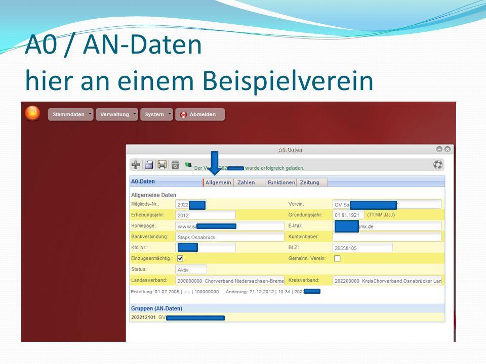 A0 / AN-Daten hier an einem Beispielverein