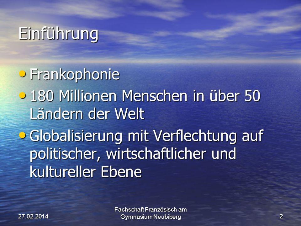 Wahl der 2. Fremdsprache Französisch Fachschaft Französisch am Gymnasium Neubiberg127.02.2014