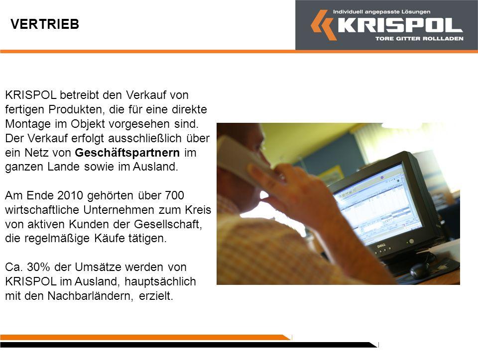QUALITÄT Die Werkstoffe, die in den Montagehallen eintreffen, erfüllen alle qualitativen Anforderungen der Europäischen Union und das von KRISPOL eingeführte System zur Qualitätskontrolle umfasst alle Produktionsetappen.