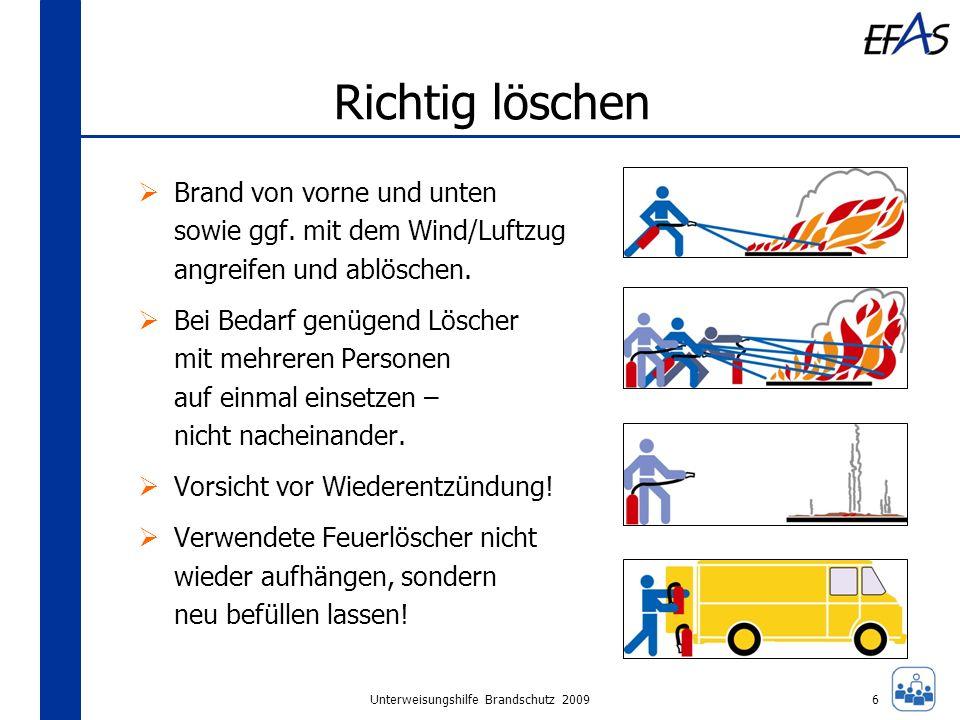 Unterweisungshilfe Brandschutz 2009 Richtig löschen Brand von vorne und unten sowie ggf. mit dem Wind/Luftzug angreifen und ablöschen. Bei Bedarf genü