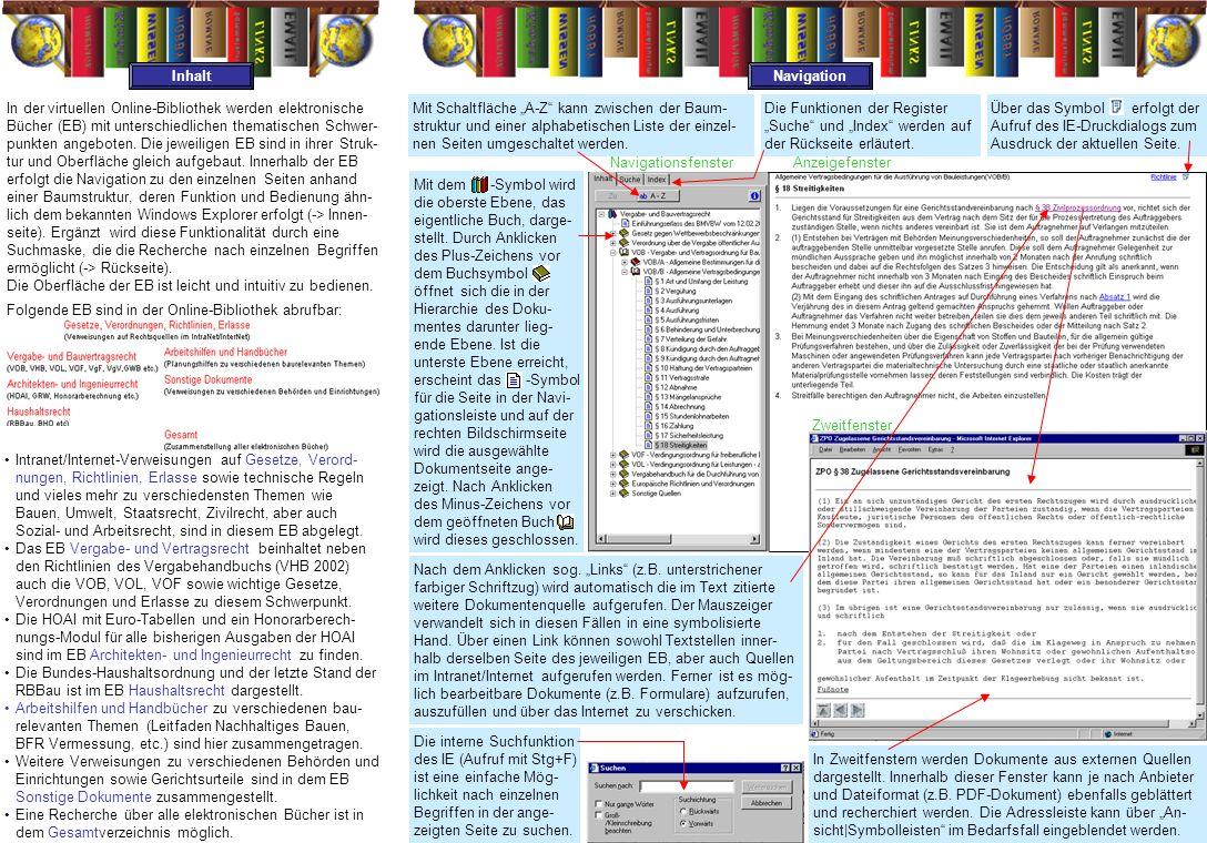 Navigationsfenster Anzeigefenster In der virtuellen Online-Bibliothek werden elektronische Bücher (EB) mit unterschiedlichen thematischen Schwer- punkten angeboten.