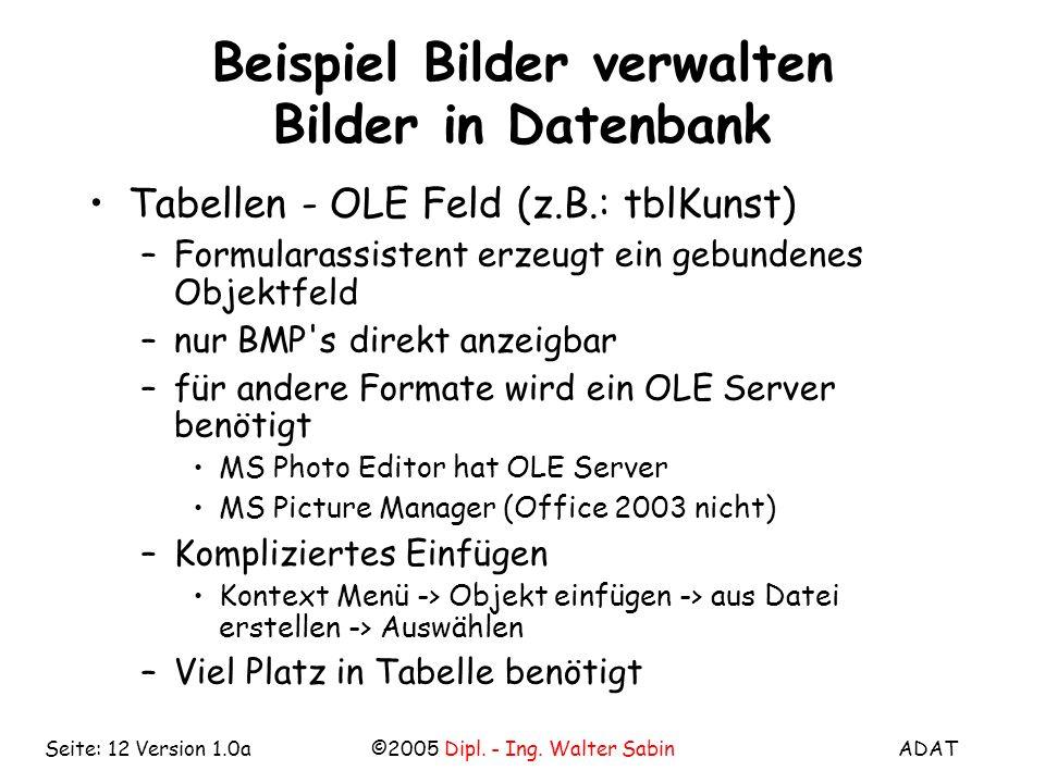 ADAT©2005 Dipl. - Ing. Walter SabinSeite: 12 Version 1.0a Beispiel Bilder verwalten Bilder in Datenbank Tabellen - OLE Feld (z.B.: tblKunst) –Formular