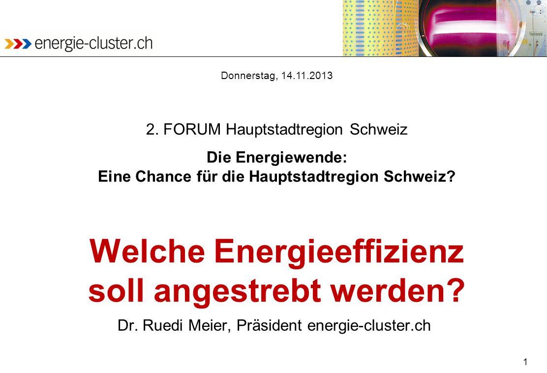 1 Welche Energieeffizienz soll angestrebt werden? Dr. Ruedi Meier, Präsident energie-cluster.ch Donnerstag, 14.11.2013 2. FORUM Hauptstadtregion Schwe