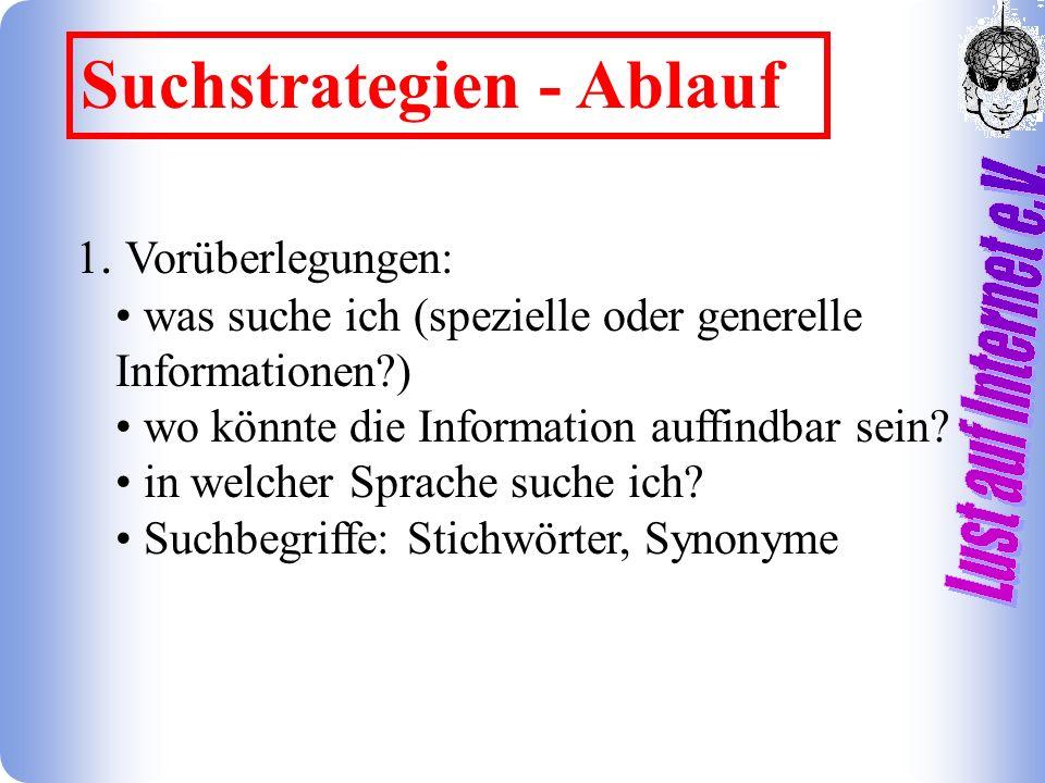 Suchstrategien - Ablauf 1.