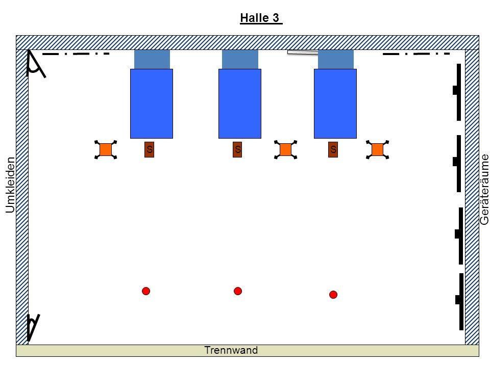 Halle 3 5T 5-teilige Kästen Langbänke Hütchen Geräteräume Tribüne
