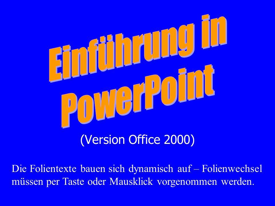 (Version Office 2000) Die Folientexte bauen sich dynamisch auf – Folienwechsel müssen per Taste oder Mausklick vorgenommen werden.