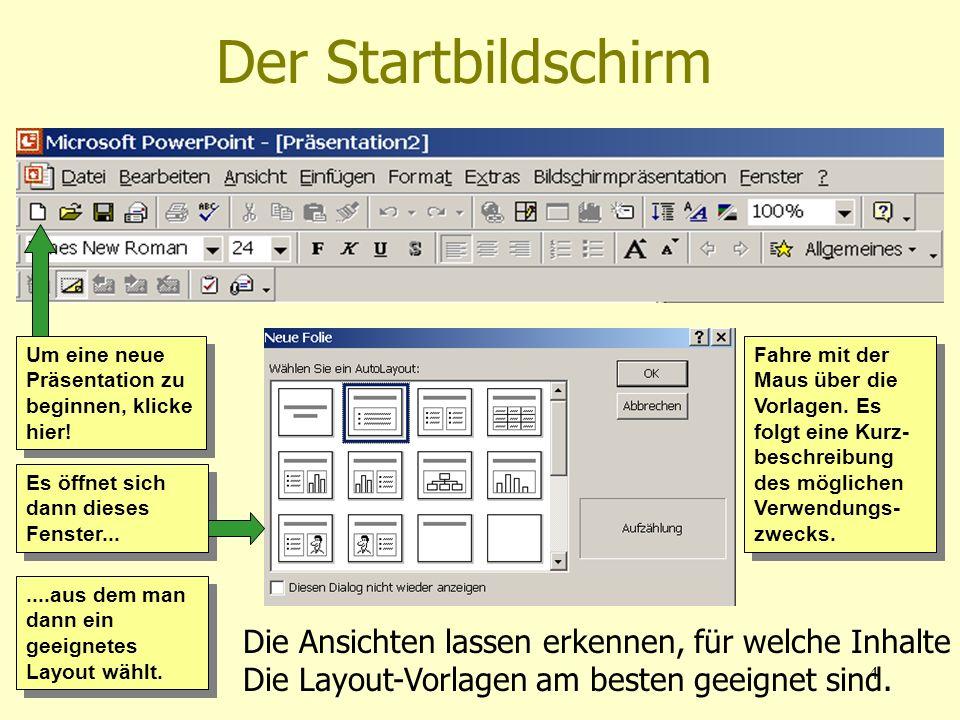 01.04.20044 Der Startbildschirm Um eine neue Präsentation zu beginnen, klicke hier! Es öffnet sich dann dieses Fenster.......aus dem man dann ein geei