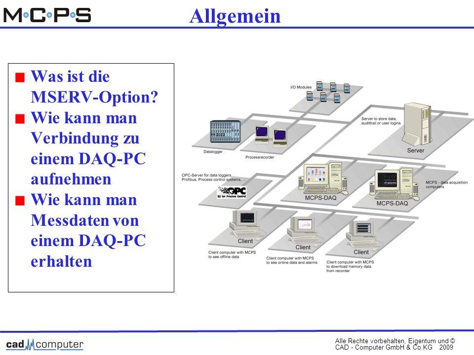 Alle Rechte vorbehalten, Eigentum und © CAD - Computer GmbH & Co.KG 2009 Allgemein Was ist die MSERV-Option.