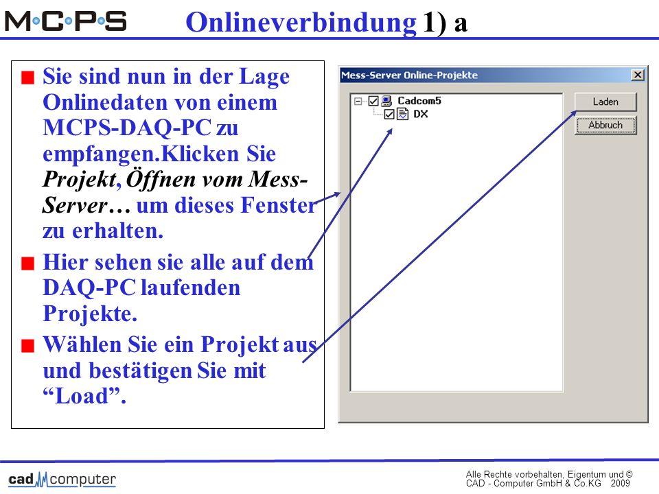 Alle Rechte vorbehalten, Eigentum und © CAD - Computer GmbH & Co.KG 2009 Onlineverbindung 1) a Sie sind nun in der Lage Onlinedaten von einem MCPS-DAQ-PC zu empfangen.Klicken Sie Projekt, Öffnen vom Mess- Server… um dieses Fenster zu erhalten.