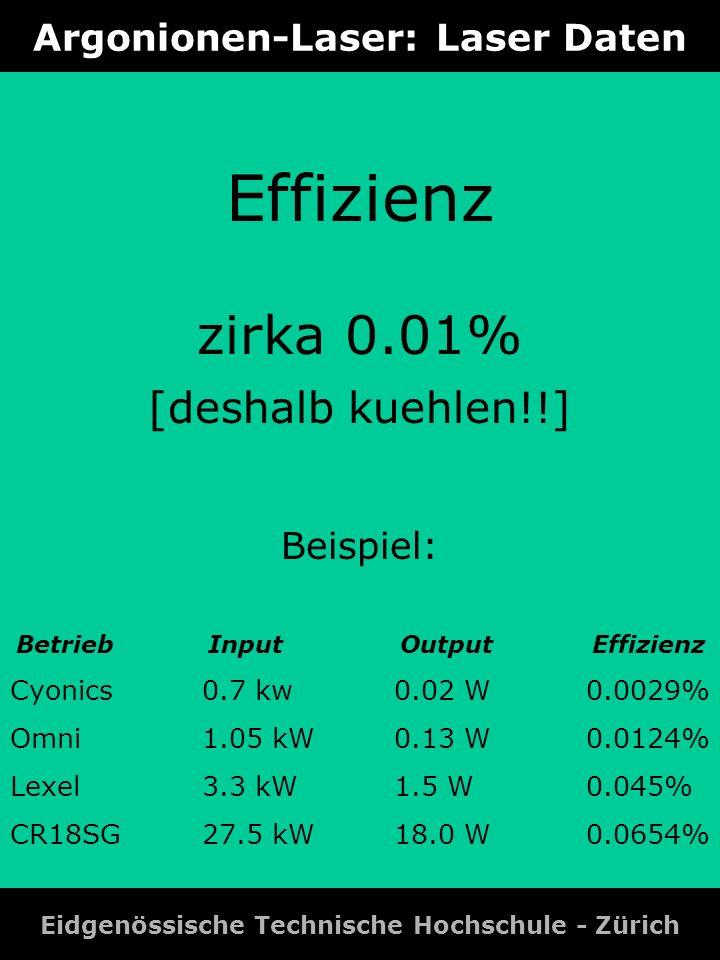 Argonionen-Laser: Laser Daten Eidgenössische Technische Hochschule - Zürich Effizienz zirka 0.01% [deshalb kuehlen!!] Beispiel: BetriebInputOutputEffi