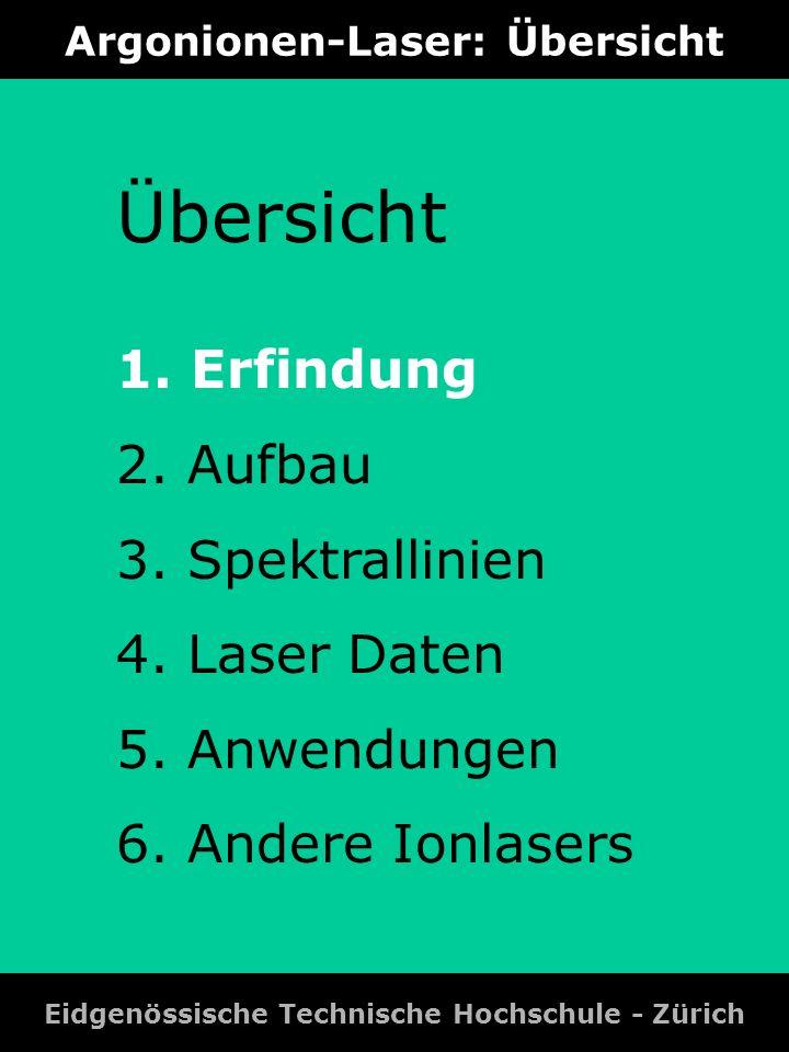 Argonionen-Laser: Spektrallinien Eidgenössische Technische Hochschule - Zürich # Laseruebergaenge in nm