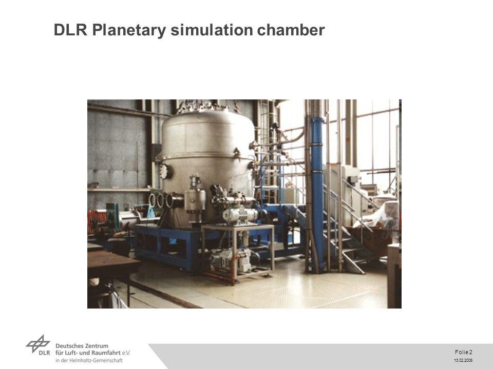 13.02.2006 Folie 2 DLR Planetary simulation chamber