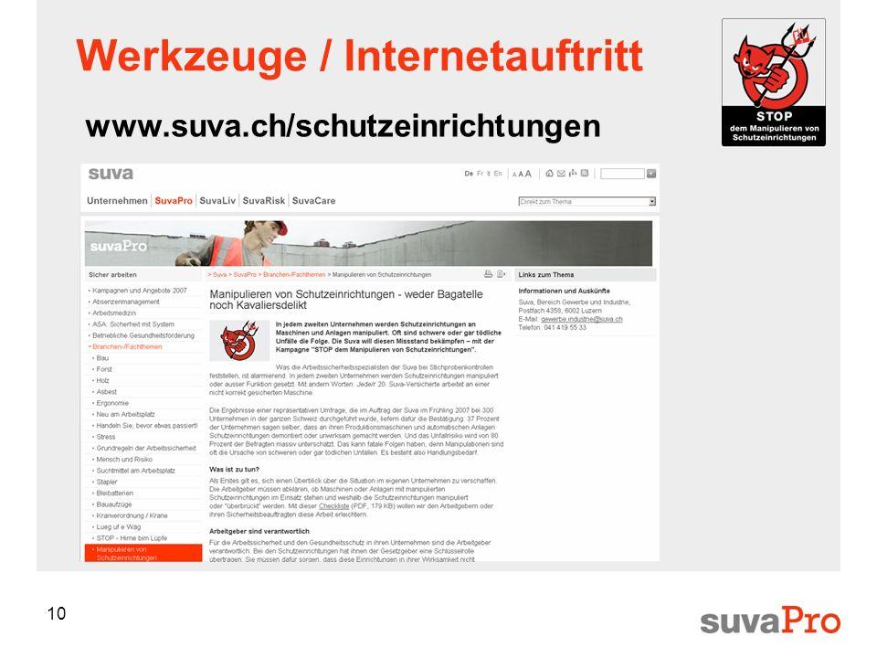 10 Werkzeuge / Internetauftritt www.suva.ch/schutzeinrichtungen