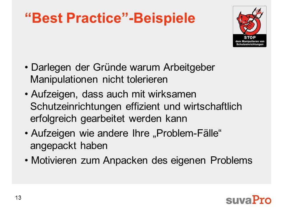 13 Best Practice-Beispiele Darlegen der Gründe warum Arbeitgeber Manipulationen nicht tolerieren Aufzeigen, dass auch mit wirksamen Schutzeinrichtunge