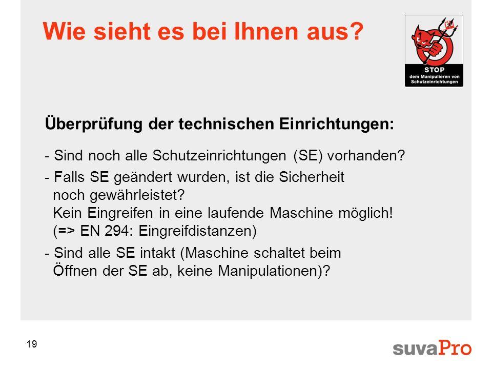 19 Wie sieht es bei Ihnen aus? Überprüfung der technischen Einrichtungen: - Sind noch alle Schutzeinrichtungen (SE) vorhanden? - Falls SE geändert wur