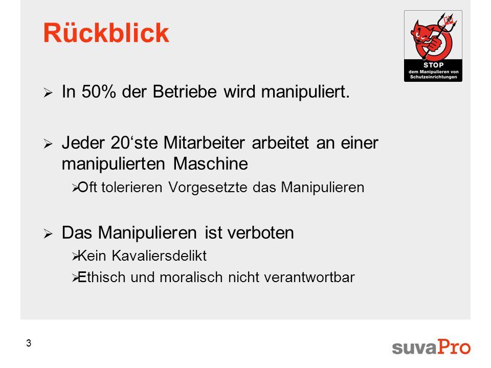 3 Rückblick In 50% der Betriebe wird manipuliert. Jeder 20ste Mitarbeiter arbeitet an einer manipulierten Maschine Oft tolerieren Vorgesetzte das Mani