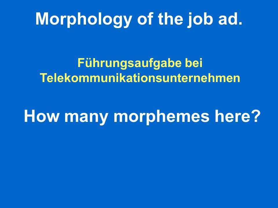 Morphology of the job ad.