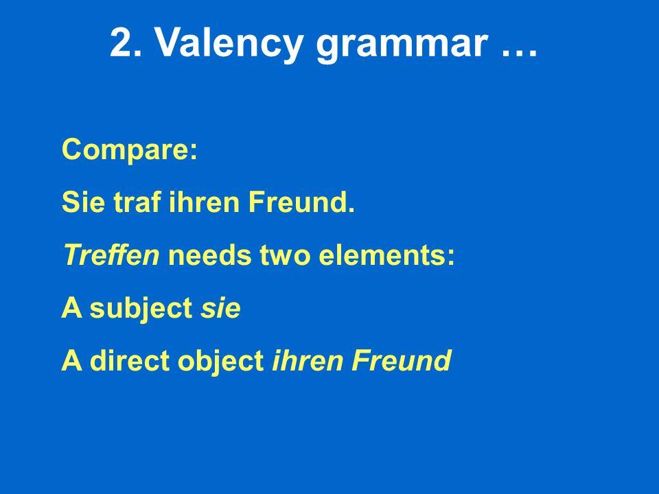 2. Valency grammar … Compare: Sie traf ihren Freund. Treffen needs two elements: A subject sie A direct object ihren Freund