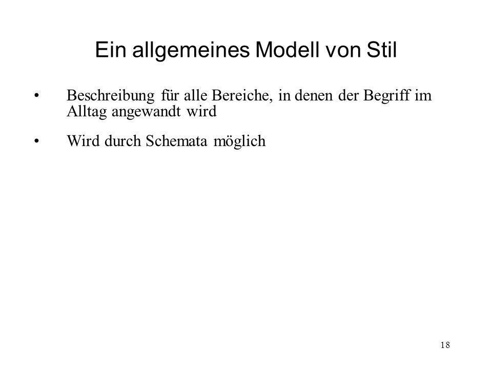Ein allgemeines Modell von Stil Beschreibung für alle Bereiche, in denen der Begriff im Alltag angewandt wird Wird durch Schemata möglich 18